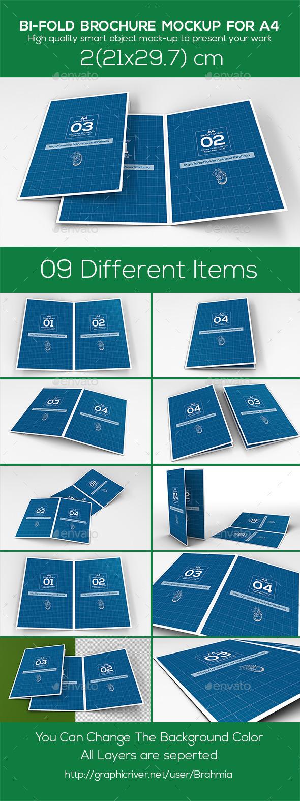 Bi Fold Brochure Mockup A4 - Brochures Print