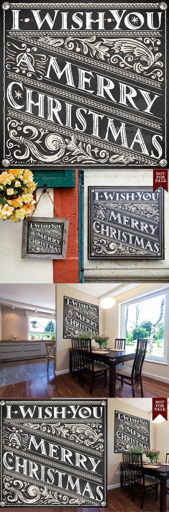 Vintage Greeting Card Text on a Blackboard  - Christmas Seasons/Holidays