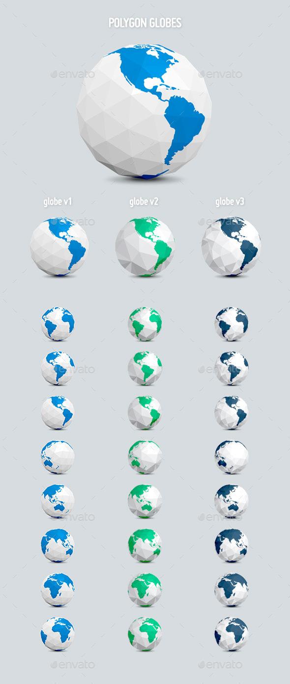 Polygon Earth Globes - Graphics
