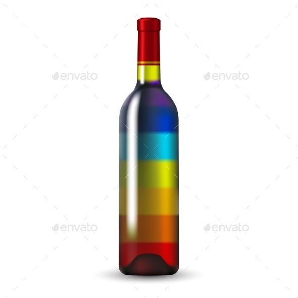 Color Glass Wine Bottle - Man-made Objects Objects