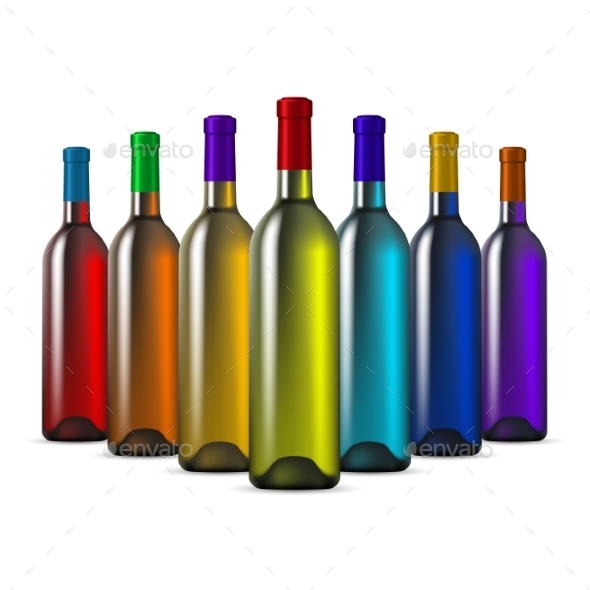 Color Glass Wine Bottles - Man-made Objects Objects