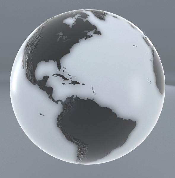 Earth - Black and white - 3DOcean Item for Sale