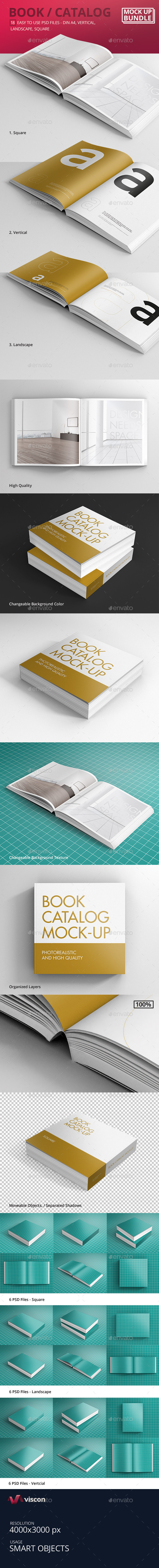 Book / Catalog Mock-Ups Bundle - Books Print