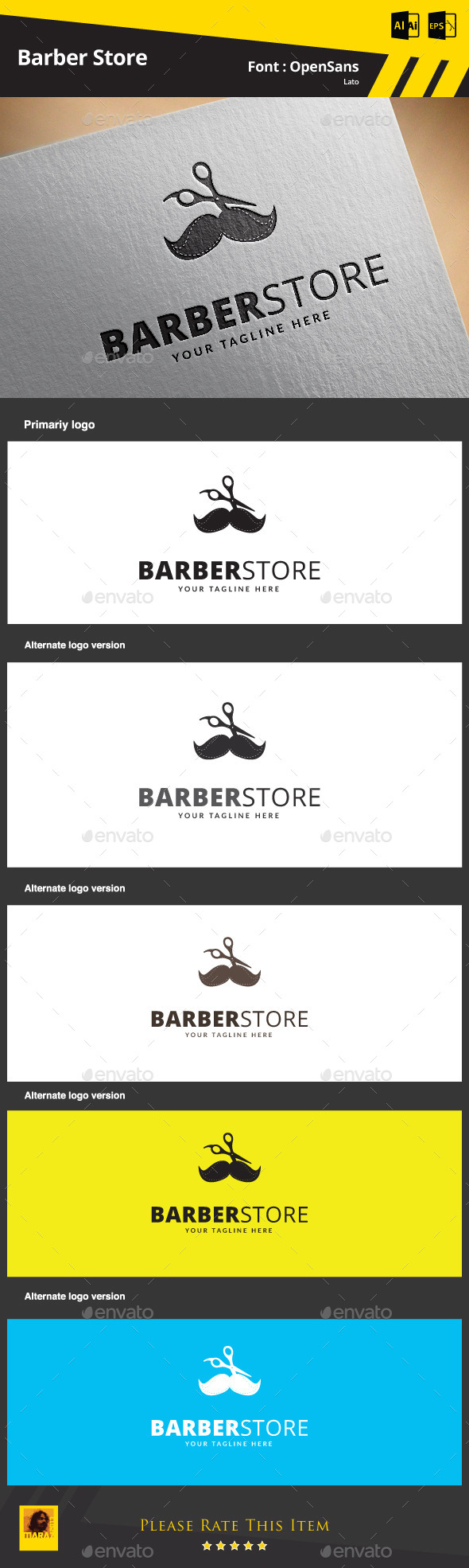 Barber Store Logo Template - Objects Logo Templates