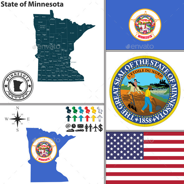 Map of State Minnesota, USA - Travel Conceptual