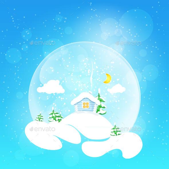 House with Moon and Fir Tree - Christmas Seasons/Holidays
