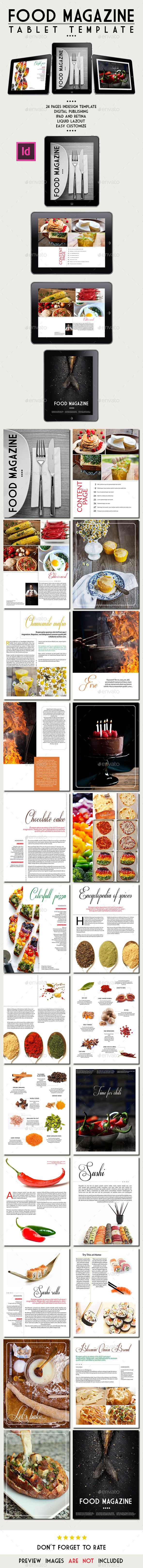Tablet Food Magazine Template - Digital Magazines ePublishing