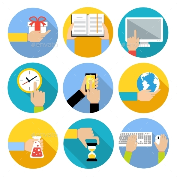 Business Hands Icons - Web Elements Vectors