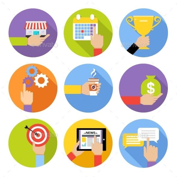 Business Hands Icons - Web Elements Vectors