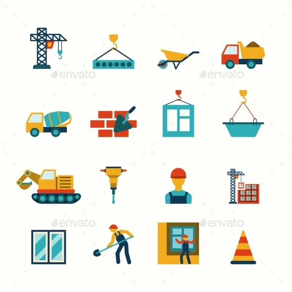 Construction Flat Icons Set - Web Elements Vectors