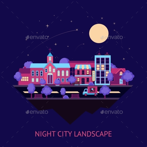 Cityscape Night Background - Buildings Objects