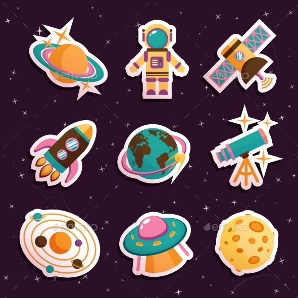 Space Stickers Set - Decorative Symbols Decorative