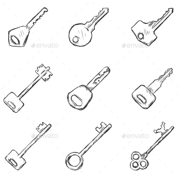 Set of Sketched Keys Icons - Man-made Objects Objects