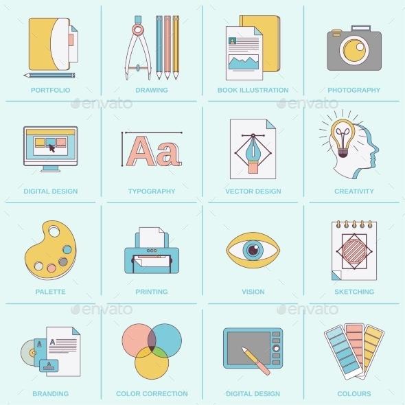 Graphic Design Icons Flat Line - Web Elements Vectors