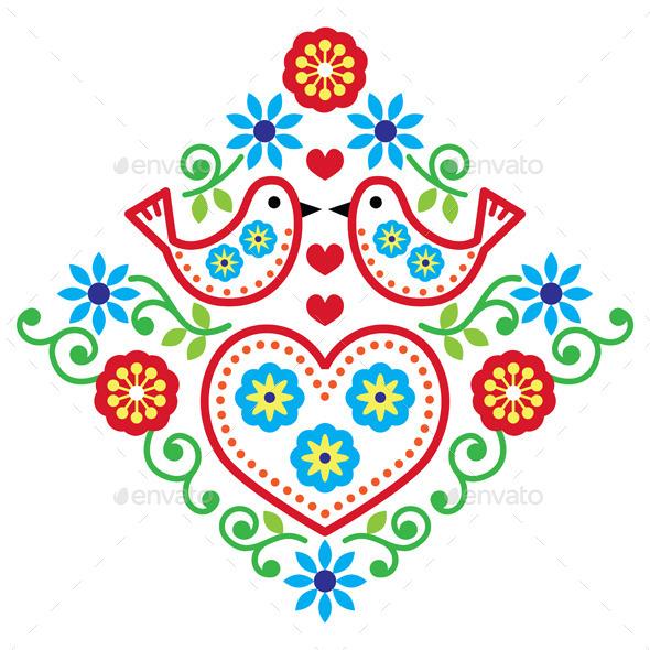 Folk Art Floral Pattern with Birds - Patterns Decorative