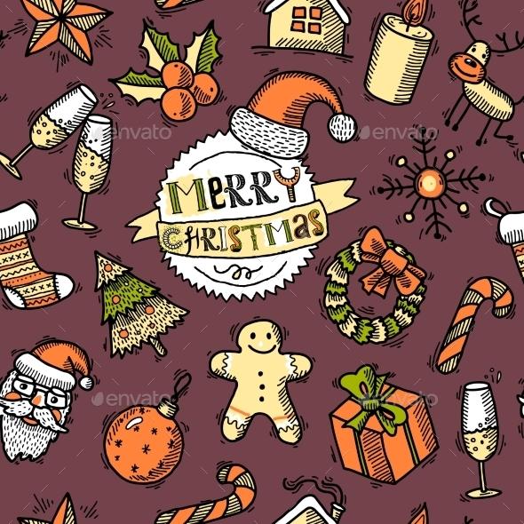 Christmas colored seamless pattern - Christmas Seasons/Holidays