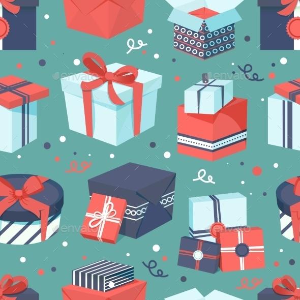 Gift Box Icons Set - Backgrounds Decorative