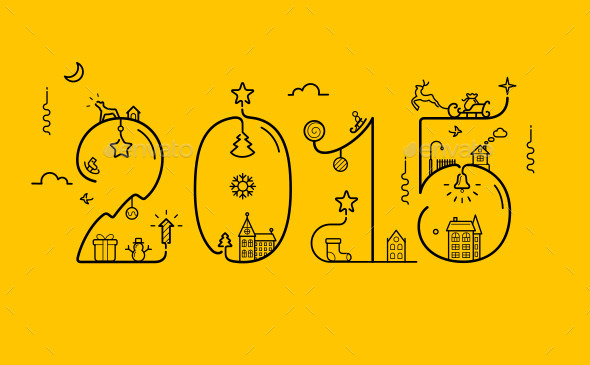2015 Inscription with Decoration - New Year Seasons/Holidays