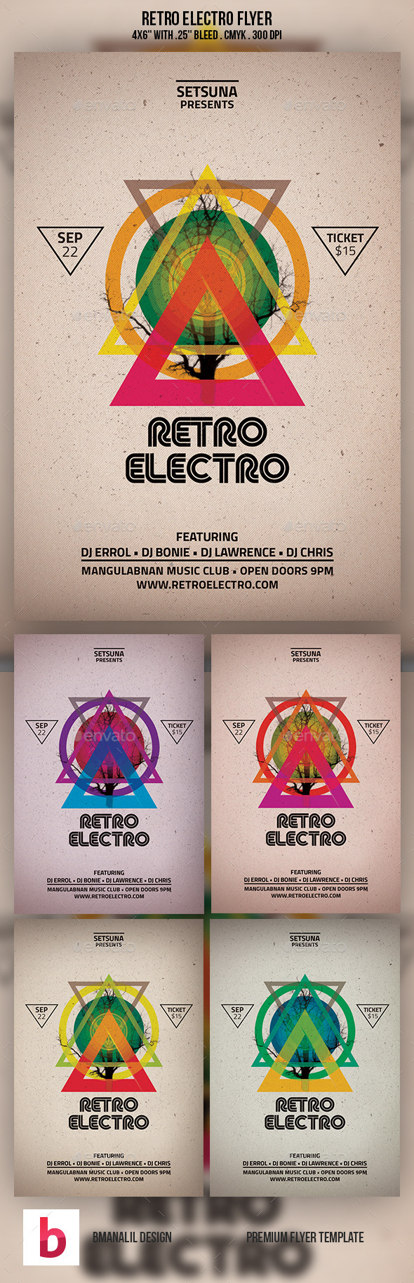 Retro Electro Flyer - Clubs & Parties Events