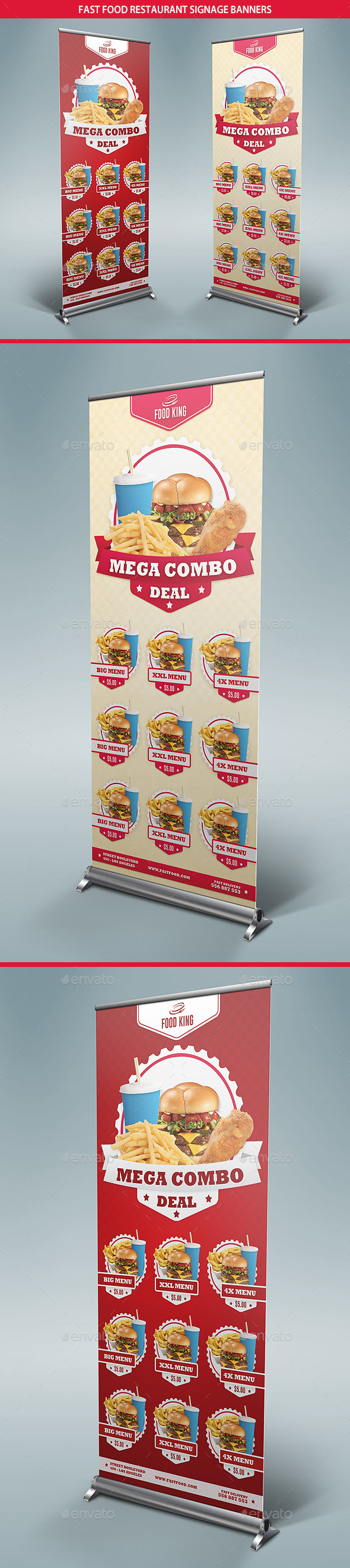 Restaurant Fast Food Menu Signage Banners - Signage Print Templates
