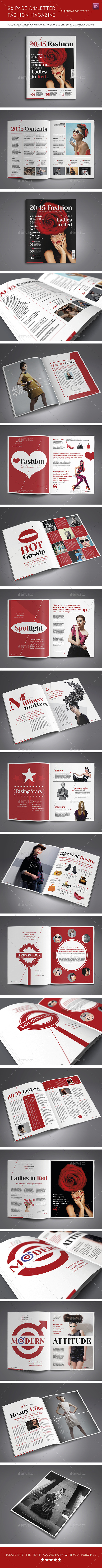28 Page A4/Letter Fashion Magazine and Extra Cover - Magazines Print Templates