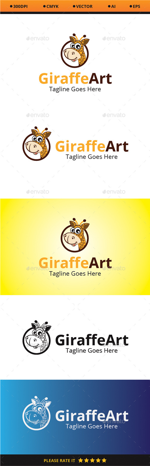 Giraffe Art - Animals Logo Templates