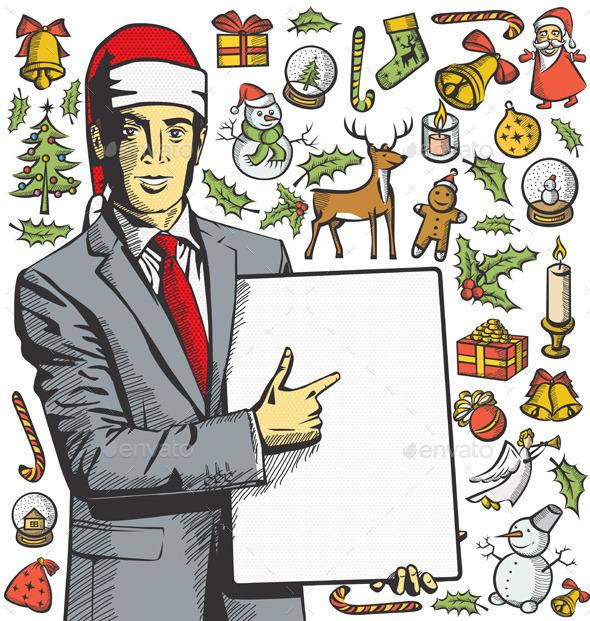 Christmas Card With Man - Christmas Seasons/Holidays