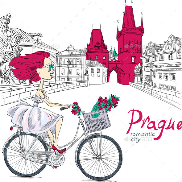 Girl on the Bike in Prague - People Characters