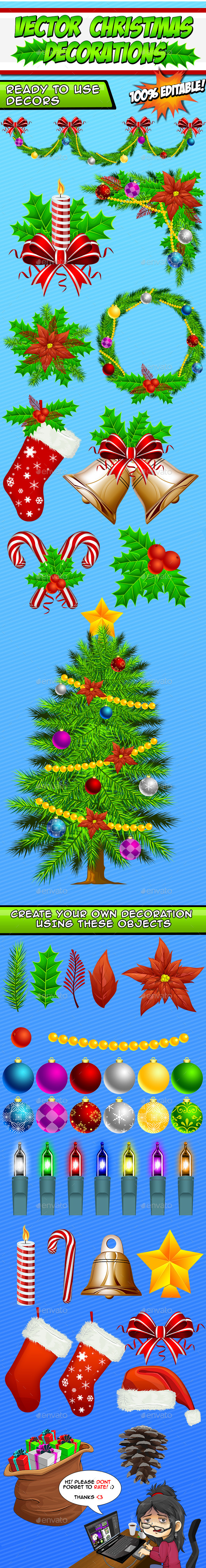 Vector Christmas Decorations - Create Your Own - Illustrations Graphics