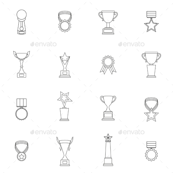 Trophy Icons Set Outline - Abstract Icons