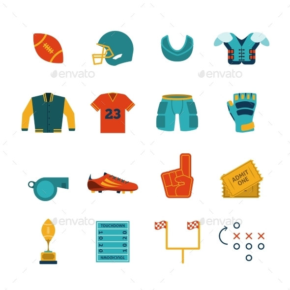 Football Flat Icons Set - Sports/Activity Conceptual