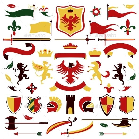 Heraldic Set Colored - Decorative Symbols Decorative