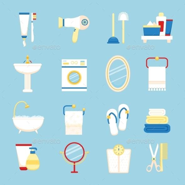 Bathroom Icon Set - Web Technology