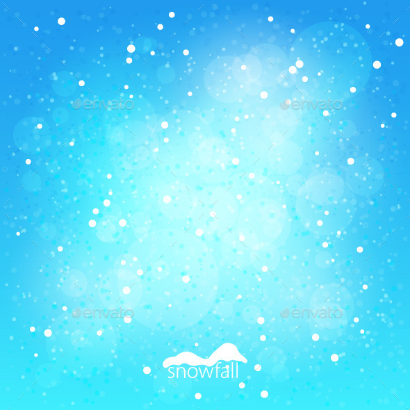 Snowfall, Abstract Blue Winter Background - Christmas Seasons/Holidays