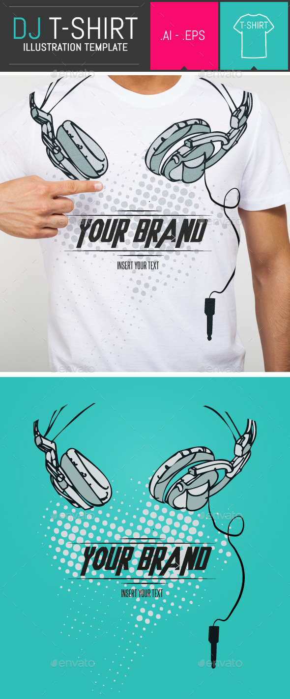 Dj Headphones T-Shirt Vector Illustration Template - Events T-Shirts