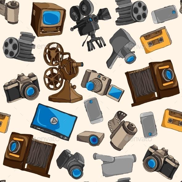 Photo Video Seamless Pattern - Backgrounds Decorative