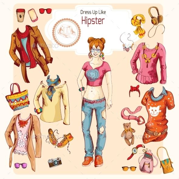 Hipster Girl Clothes Set - Decorative Vectors