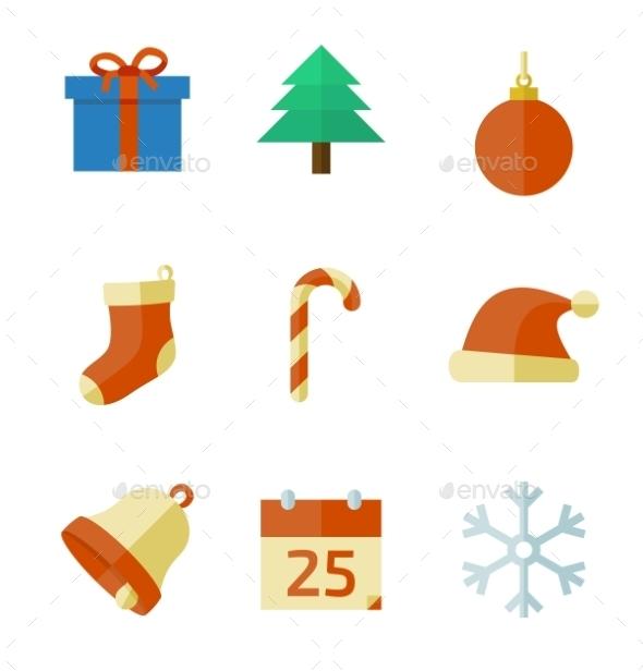 Christmas Icons in Flat Style - Christmas Seasons/Holidays