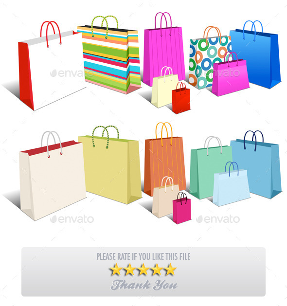 Modern and Retro Shopping Bags, Carrier Bags - Retail Commercial / Shopping