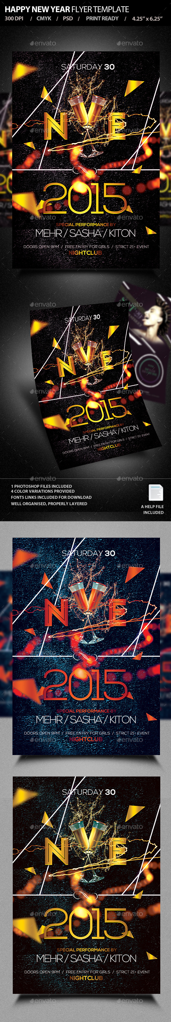 Happy New Year Flyer Template PSD V3 - Clubs & Parties Events