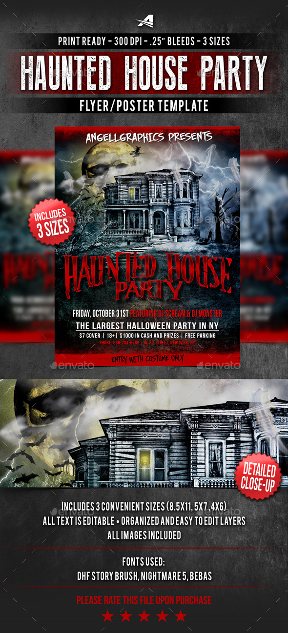Haunted House Party Flyer - Flyers Print Templates