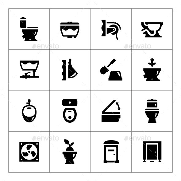 Set Icons of Toilet - Man-made objects Objects