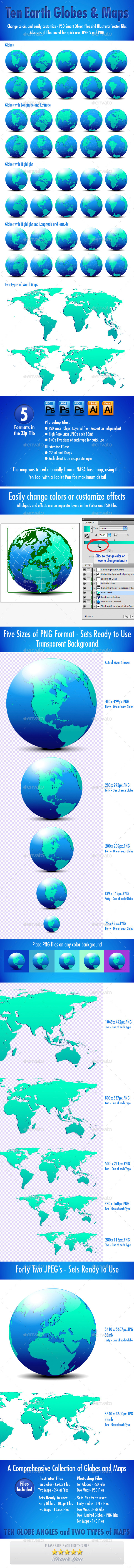 Globes and World Maps Collection - Conceptual Vectors