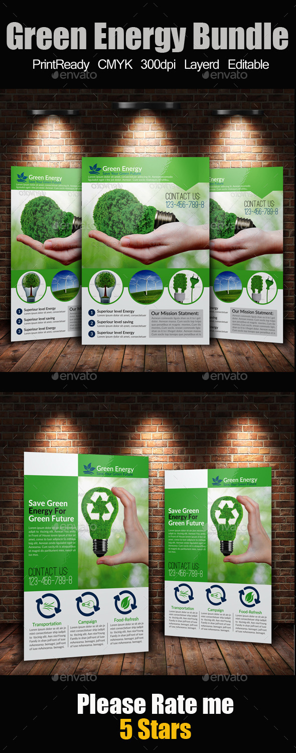 A4 Green Energy Flyer Bundle - Corporate Flyers