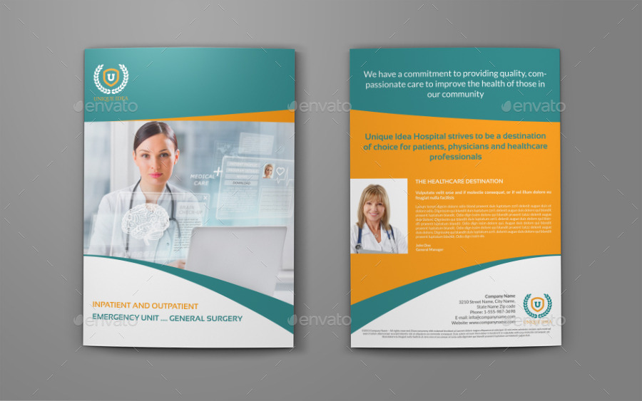 Hospital BiFold Brochure Template Vol By Owpictures  Graphicriver
