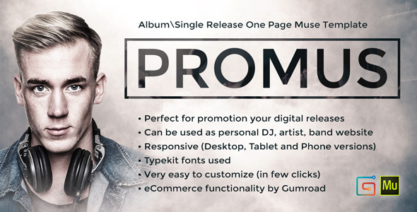 Promus – Album Release One Page Muse Template