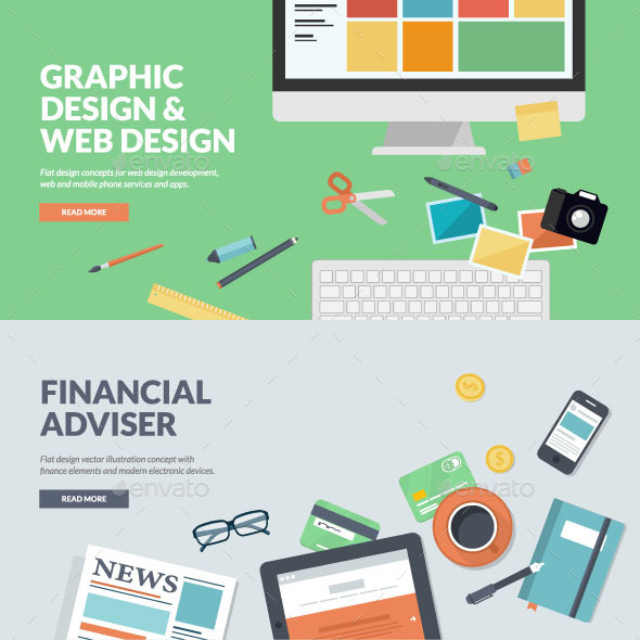 Flat Concepts for Web Development and Finance  - Business Conceptual