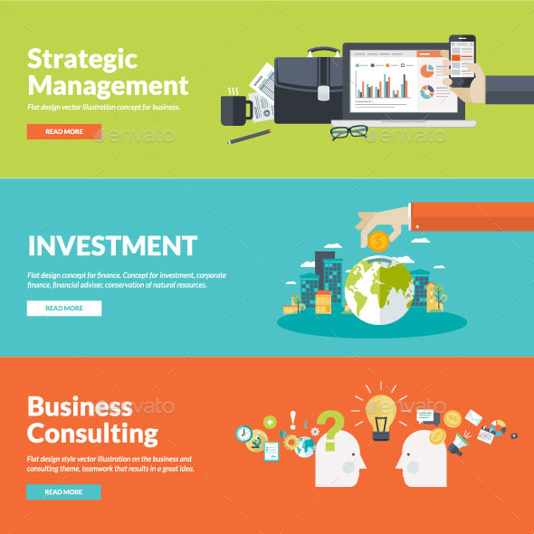 Set of Flat Design Concepts for Business - Business Conceptual