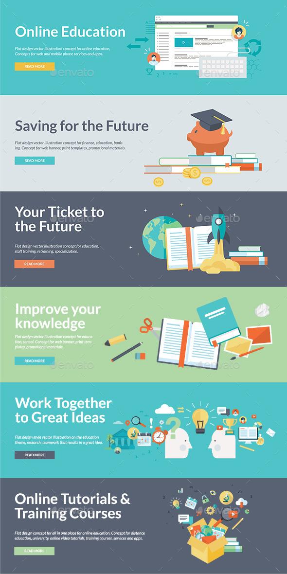 Flat Design Concepts for Online Education  - Technology Conceptual
