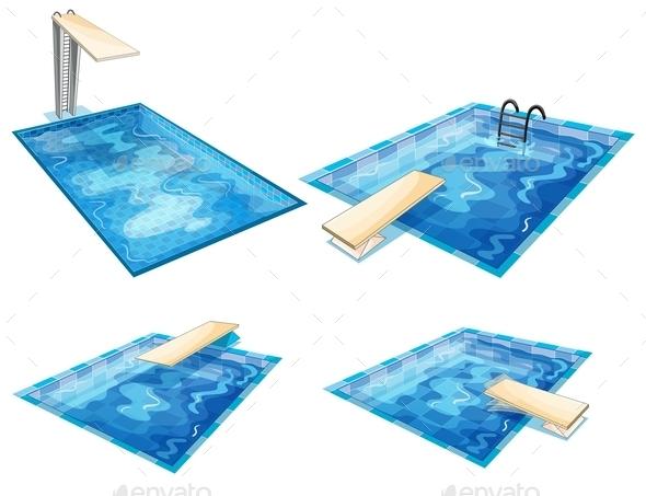 Set of Pools - Sports/Activity Conceptual